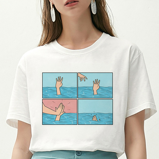 Kobiety T Shirt moja depresja mój mózg mój niepokój nadrukowane litery Tshirt nowy Harajuku parodia Casual Loose Vogue Tee Shirt Femme topy