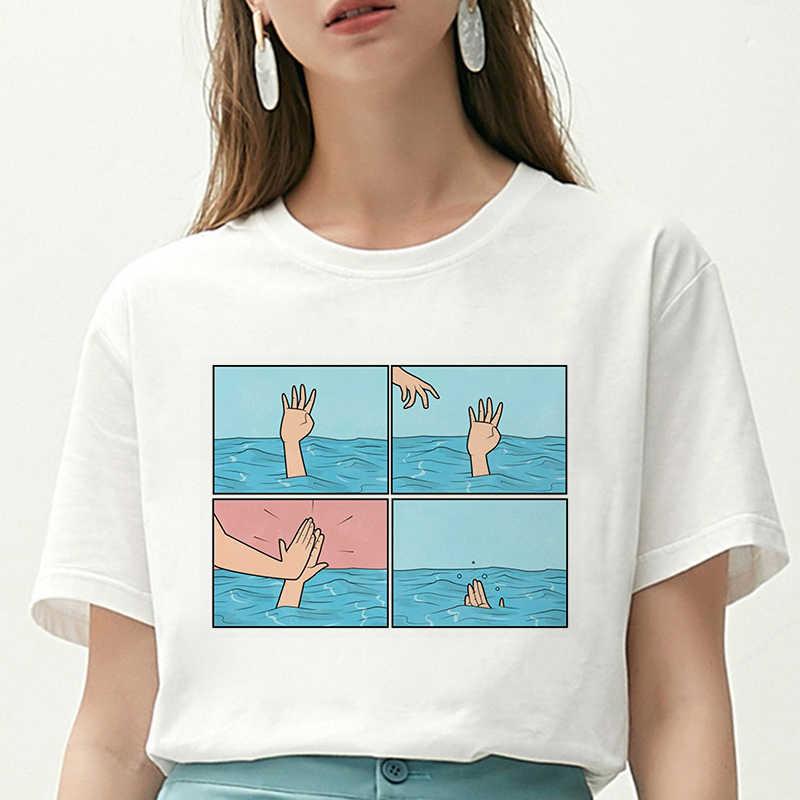 女性 Tシャツ私うつ病私脳私不安レタープリント Tシャツ新原宿パロディーカジュアルルース流行 Tシャツファムトップス