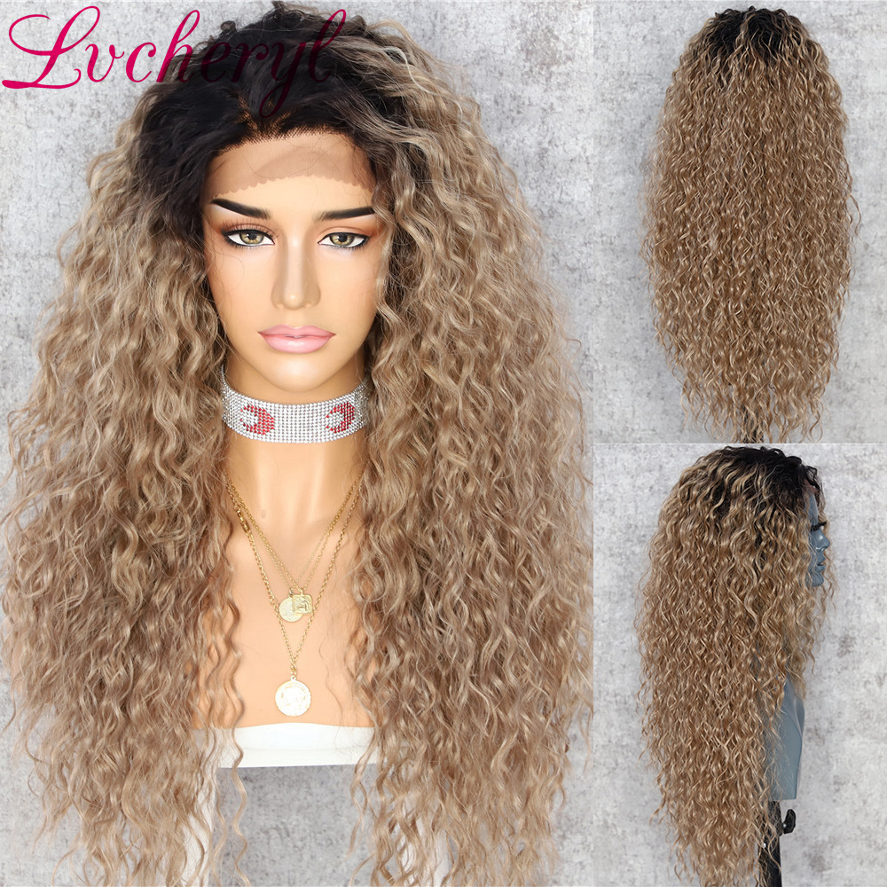 Lvcheryl Curly Synthetic Lace Front Wigs Dark Roots To Ash Blonde Ombre Heat Resistant Hair Free Parting Wigs For Women