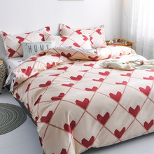 Red Love Heart Bedding Set duvet cover lover bed linen single queen king size bed cover(China)