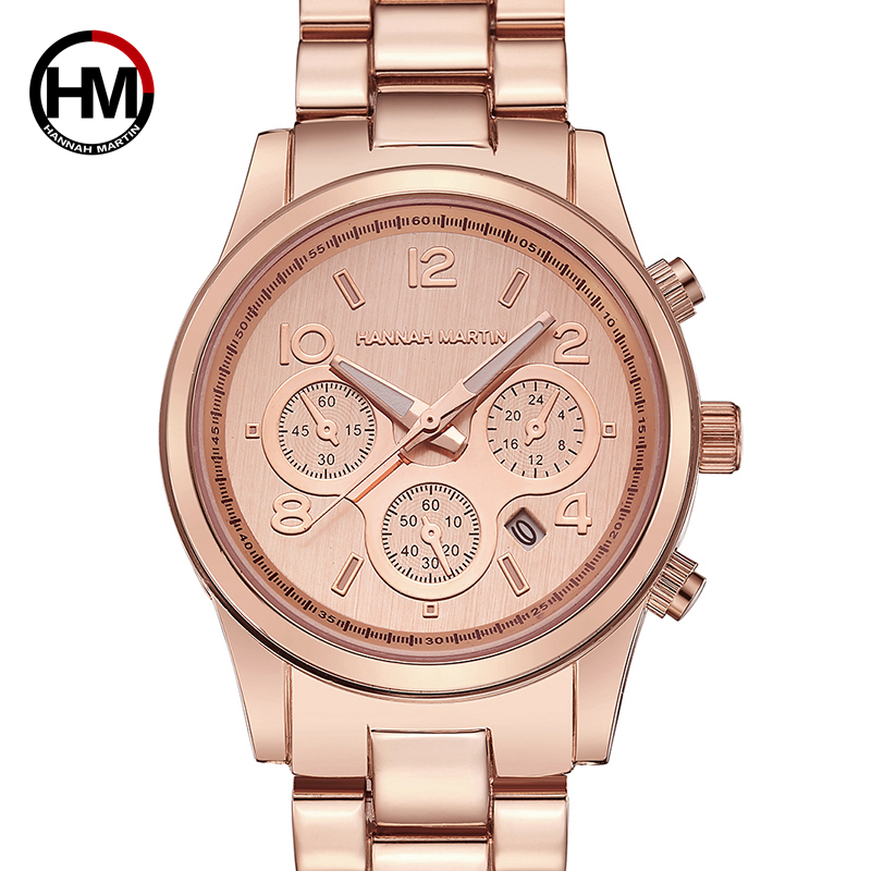 Hannah Martin Women's Watch Top Brand Luxury Stainless Steel Rose Gold Ladies Watch Women Female Clock Relogio Feminino