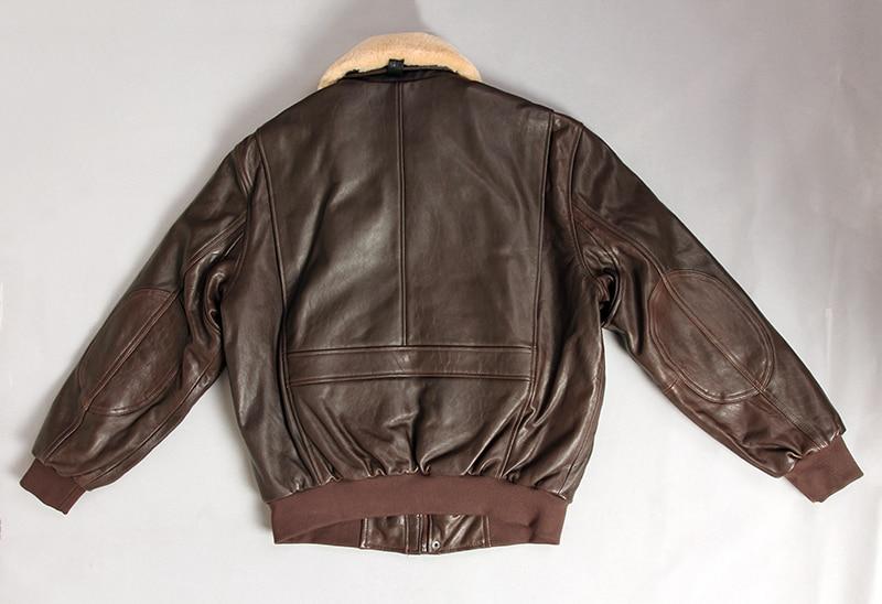H066bf721e0914cba8ecd70b885a4ffb5t Military air force flight jacket fur collar genuine leather jacket men winter dark brown sheepskin coat pilot bomber jacket