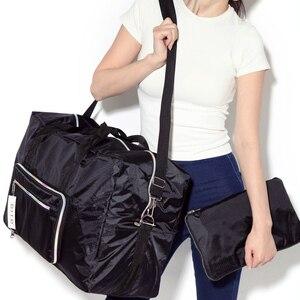 Image 2 - Sac de voyage pliable femmes grande capacité Portable sac à bandoulière dessin animé impression étanche week end bagages fourre tout en gros