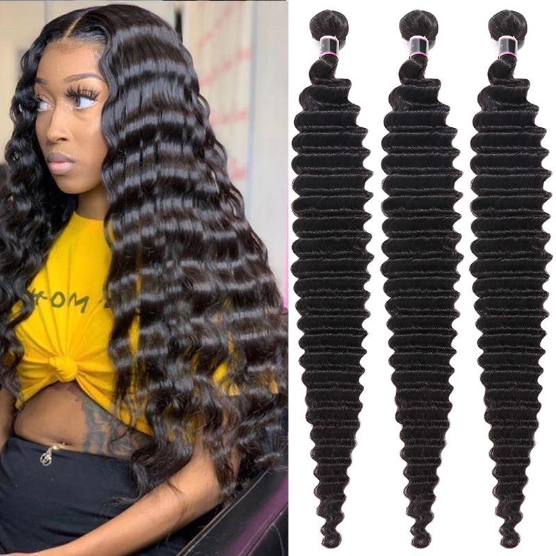 Bouncing Hair Deep Wave Human Hair Bundles Brazilian Hair Bundles 8-40 Inch Hair Weft 100% Remy Human Hair Weave For Women