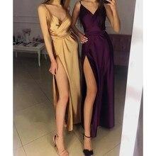 Fashion Hot Sale V Neck Split Strappy Sparkle Slit Formal Evening Party Dress Sexy Silk Sleeveless Women Wedding Long Maxi