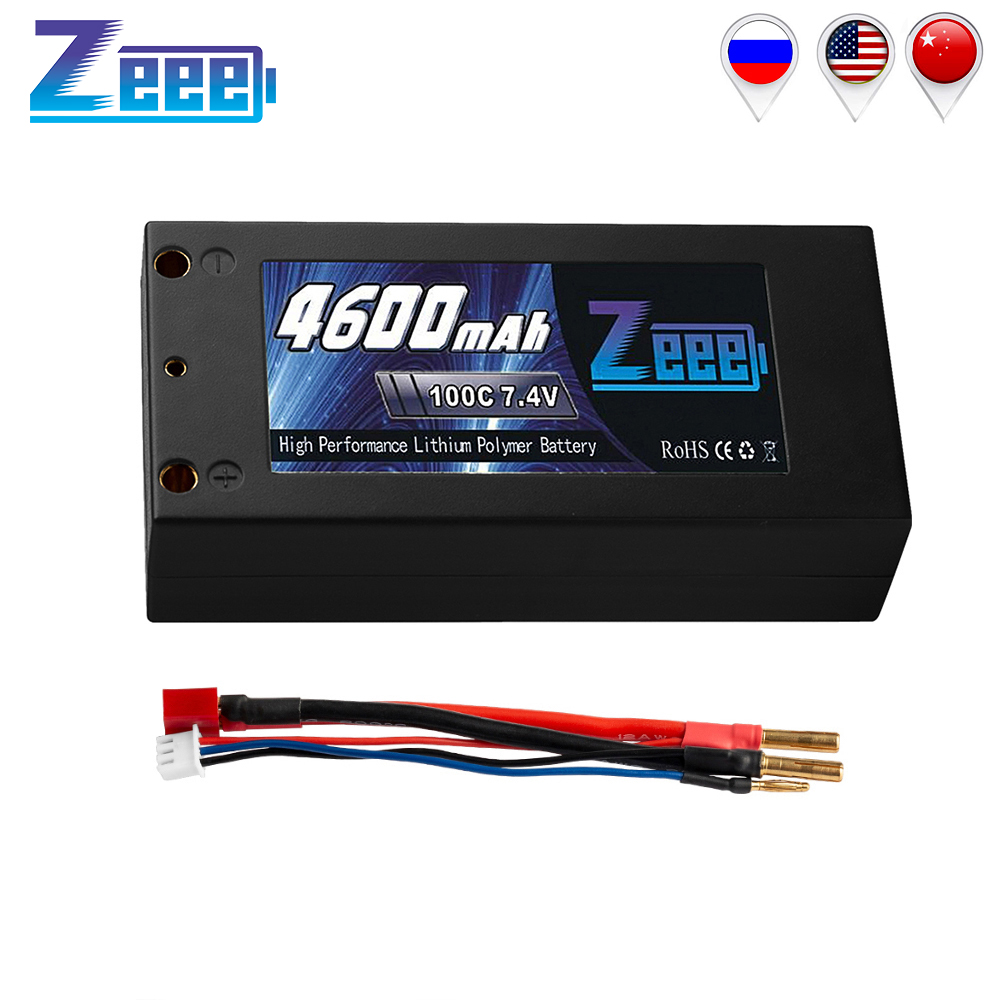 Zeee 7.4V RC Car Battery 4600mAh 2S 100C RC Lipo Battery Charger with Deans Plug for Car Truck Truggy Boat Airplane Hobby image