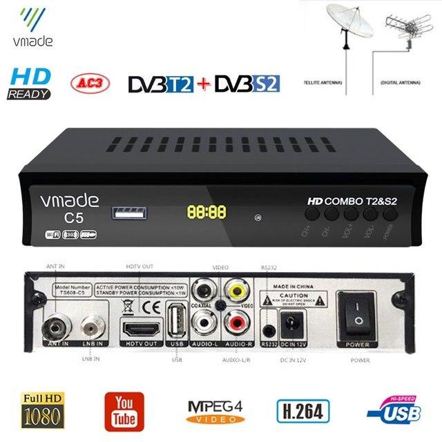 2020 nuovo DVB T2 DVB S2 HD ricevitore Digitale Terrestre Ricevitore TV Satellitare Combo DVB S2 H.264 MPEG4 1080P TV Tuner decodificatore Supporto Youtube Bisskey M3U Set top box Usato in Italia