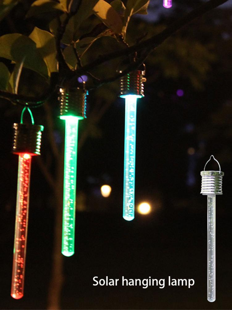 Solar LED Color Tube Lights Acrylic Bubble Stick Hanging Lamp Christmas Garden Paths Festival Decoration Outdoor Waterproof Lamp