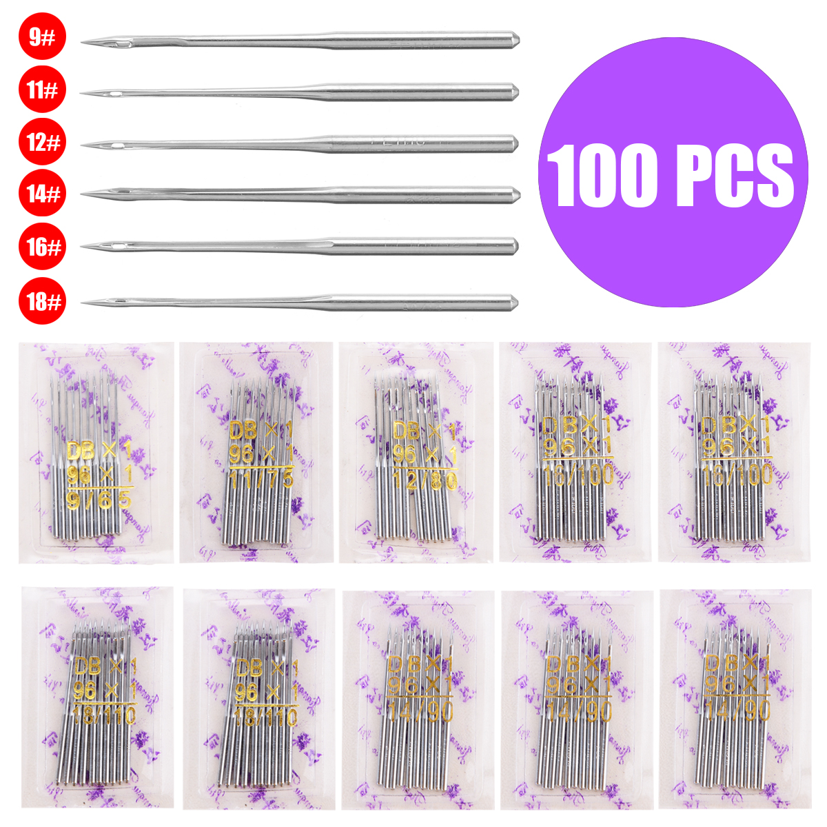 90//14 130//21 10 x 130//21 10pcs Assorted Home Sewing Machine Needles 75//11 100//16 110//18