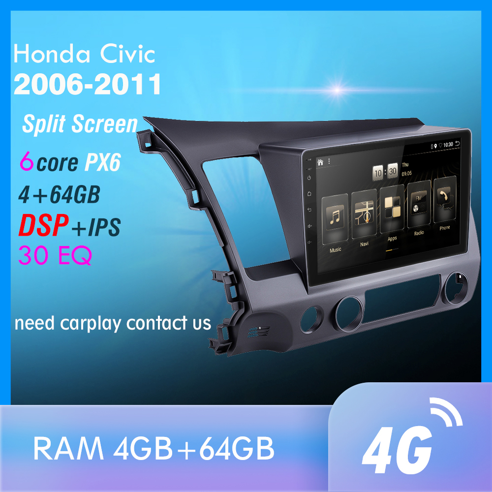 PX6 Android 9.0 DSP Car Radio For 2006-2011 Honda Civic Multimedia Video Player Navigation GPS Wifi 4G OBD SWC Camera TMPS 1din