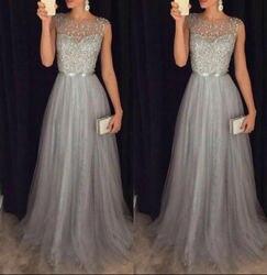 Женское элегантное вечернее Сетчатое платье без рукавов с высокой талией, блестящее Свадебное бальное платье на выпускной длинное платье