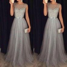 Women Elegant Formal Evening Party Mesh Sleeveless High Waist Sequins Shinning Wedding Ball Prom Gow