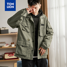 TONLION 2020 New Jacket Men Autumn Spring Mens Outerwear Jackets Multi Pockets Turn-down Collar Mens Tops Loose Solid Cotton OL