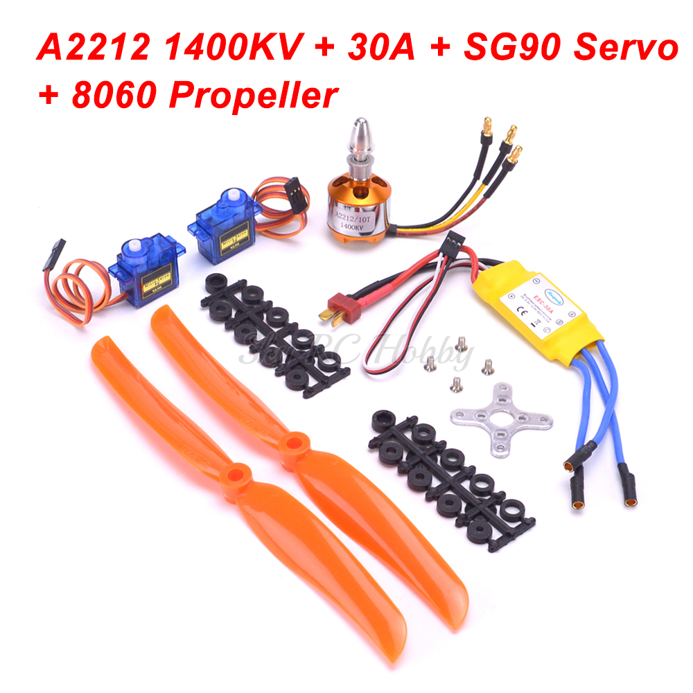 A2212 2212 1000KV / 1400KV / 2200KV Brushless Motor 30A / 40A ESC SG90 Micro Servo 6035 8060 Prop For RC Fixed Wing Helicopter