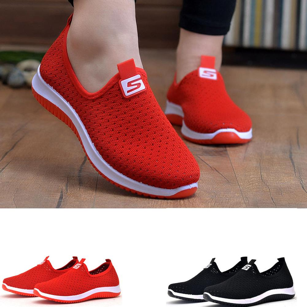 2020 Summer Women Flat Platform Shoes Woman Casual Mesh Breathable Slip On Fabric Sneakers Shoes Women Female Mary Jane Shoe