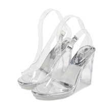 Summer Fashion Gladiator Ankle Buckle Strap Sandals Shoes Sexy PVC Transparent Crysyal High Heels Sandals Shoes MS-A0065