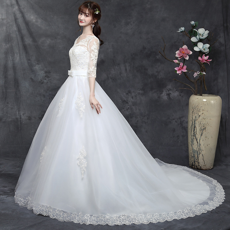 2019 Vestido Cocktail Wedding Dress 2020 New Korean One Shoulder Large Size Bride Show Thin Shoulders Long Sleeves Fat Tail