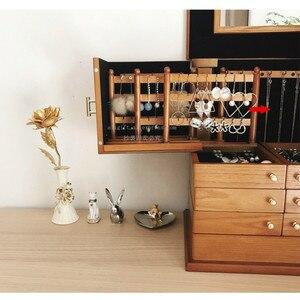 Image 3 - 2020 caixas de jóias de madeira grande capacidade de madeira maciça jóias brinco caso de armazenamento do agregado familiar princesa caixas de jóias estilo europeu