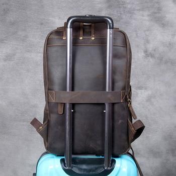 AETOO Vintage crazy horse leather shoulder bag, handmade genuine  leather backpack large men's leather computer travel backpack