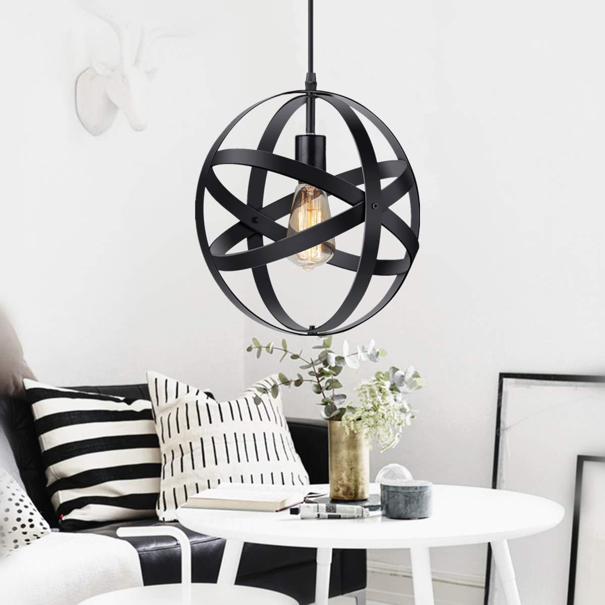 Industrial Metal Spherical Pendant Lights Displays Changeable Hanging Light Fixture Home Decor Rustic Vintage Edison Cord Lamp