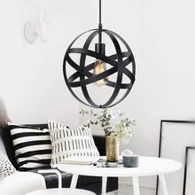 Industrial Metal esférico colgante Luces muestra cambiable colgante lámpara hogar Decoración rústica Vintage Edison cable lámpara