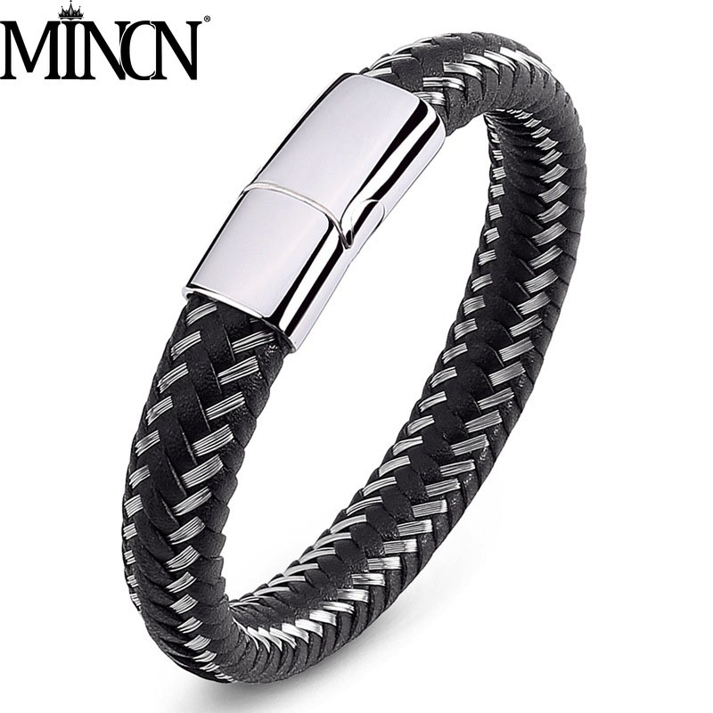 MINCN steel wire and woven leather chain mens bracelet stainless magnetic punk style
