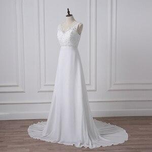 Image 2 - Jiayigong Cheap V neck White/Ivory Wedding Dresses Zipper Back Bridal Gowns Plus Size Vestido De Noiva Real Model Bride Dress