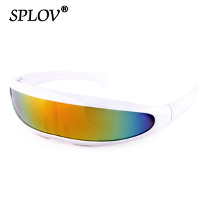 Conjoined Lens Sunglasses Men Women Fishtail Design X Laser Dolphins Mirror Glasses Windproof Goggles Space Robots Eyewear UV400(China)