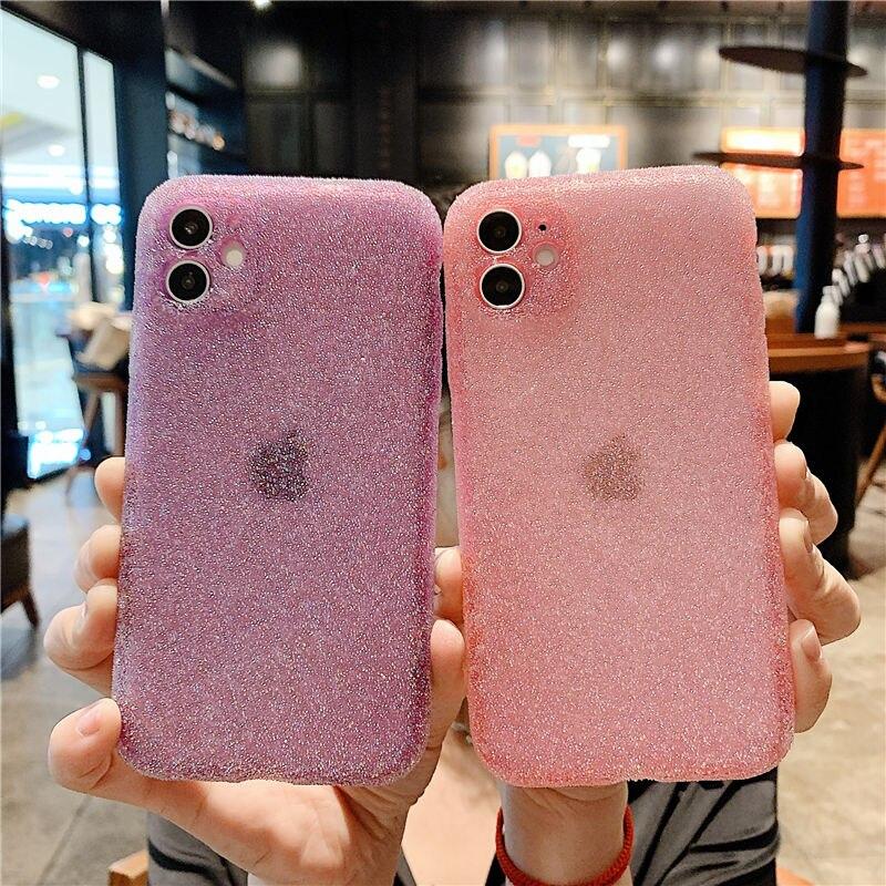 Funda de teléfono de silicona con purpurina para iPhone, funda de TPU suave a prueba de golpes, brillante, de lujo, para iPhone 12 11 Pro Max 12 Pro X XR XS Max 8 7 Plus 1