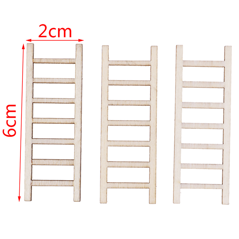 3 PCS/lot 1:12 Dollhouse Miniature Fairy Garden Decor Dollhouse Miniature Wood Step Ladder Furniture Toys Tools