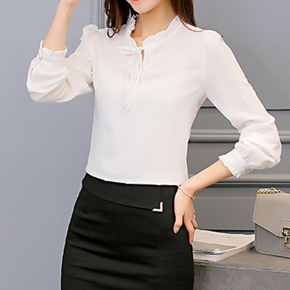 Office Ladies Solid Color Blouse Women O-Neck Full Sleeve Causal Shirt Long Sleeve Slim Chiffon Tops White Blue Blusa Femme