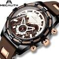 MEGALITH повседневные спортивные часы для мужчин Топ бренд класса люкс кварцевые Силиконовые наручные часы для мужчин модные водонепроницаемы...