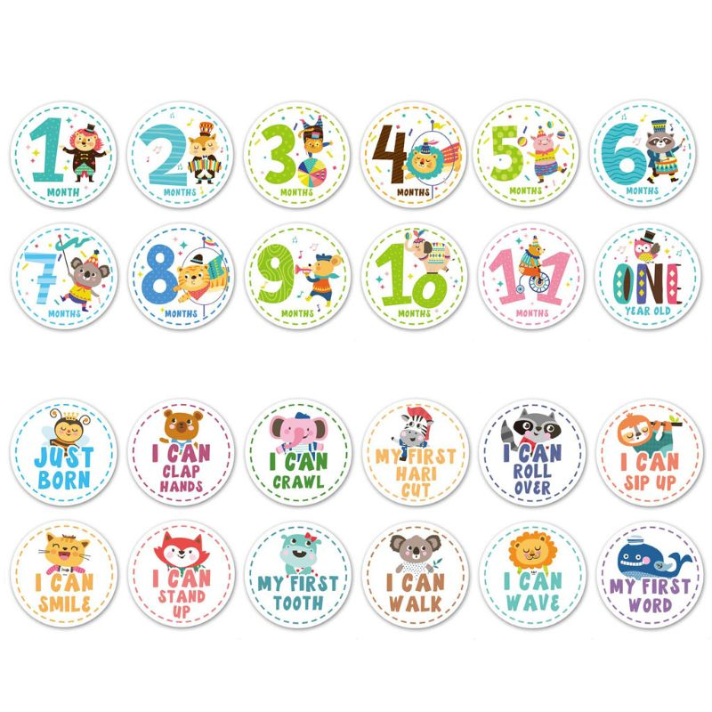12 Pcs Baby Monthly Milestone Stickers Shower Registry Gift Scrapbook Photo Memory Keepsake
