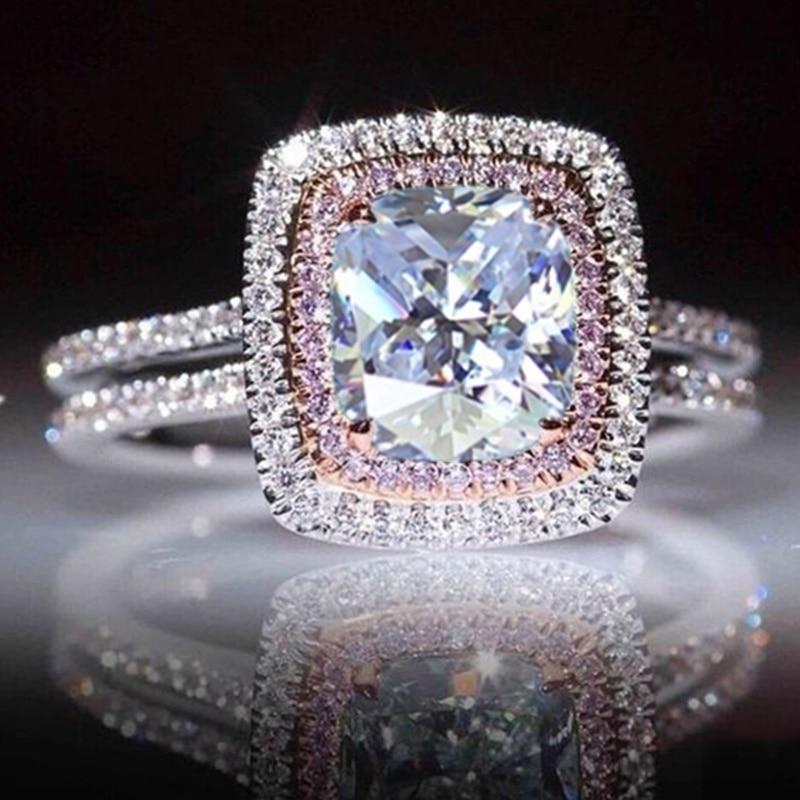 Модное женское кольцо, роскошное блестящее белое/розовое кольцо с кристаллом для женщин, аксессуары, свадебные украшения, подарок