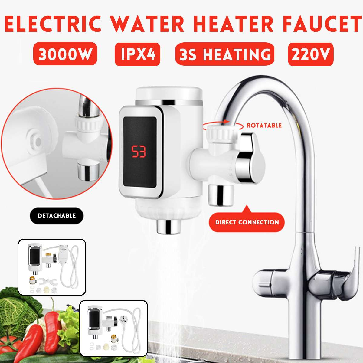 220V 3000W Electric Water Heater Heating Waterproof LED Display Home For Bathroom Kitchen Tap Instant Hot Water Faucet Heater