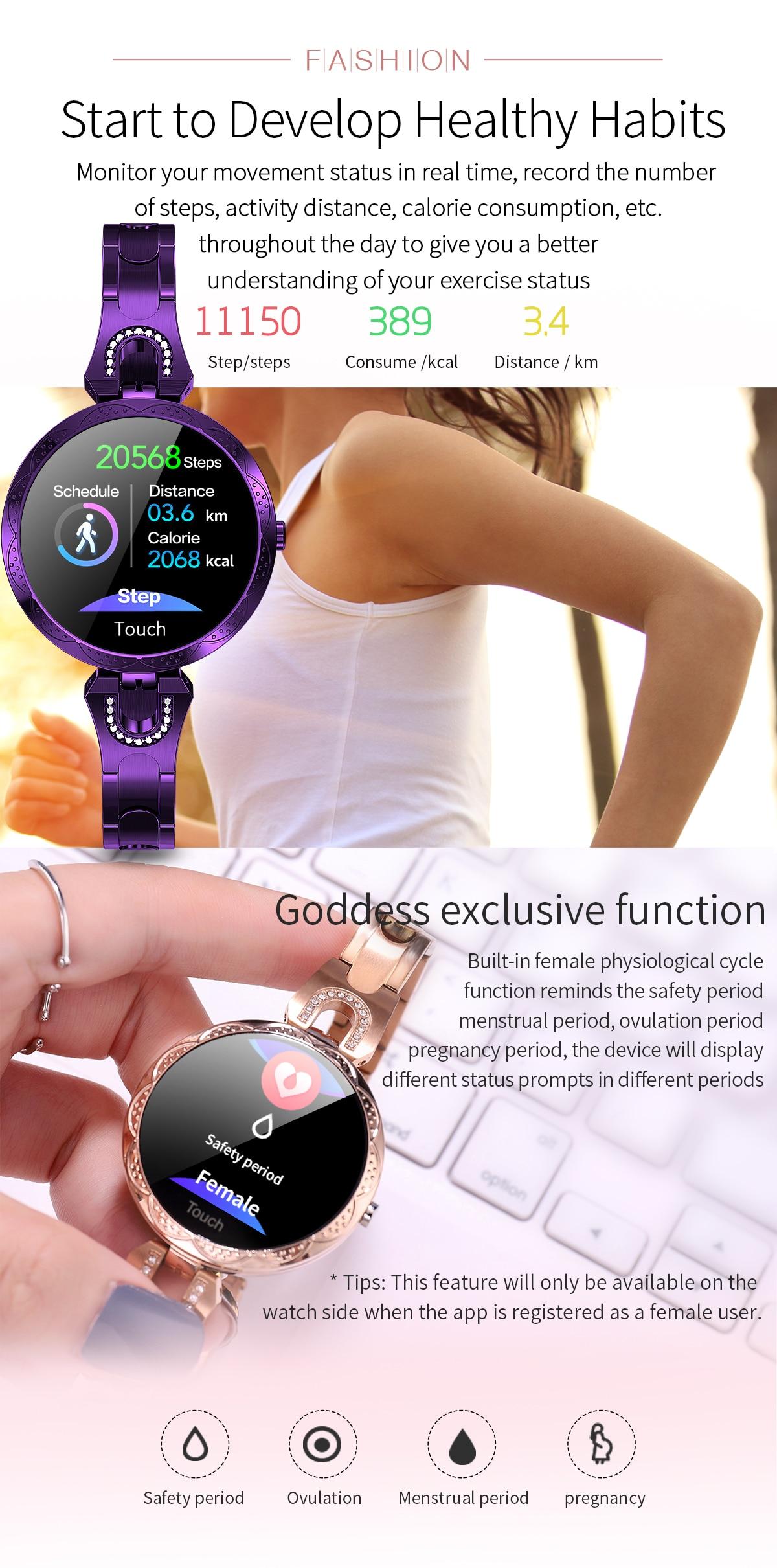 H066e19a923ae4fc7ac9e82f06415bb05e COBRAFLY AK15 Smart Watch Women Bracelet Heart Rate Monitoring IP67 Waterproof Fitness Tracker Ladies Watches for Xiaomi Iphone