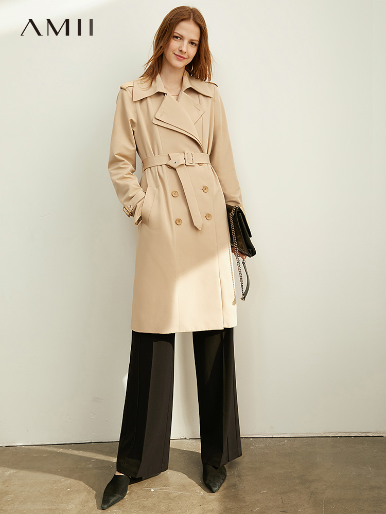 Amii Autumn Women's Casual Trench Coat Office Lady Lapel Solid Loose Belt Female Long Jacket 11930262