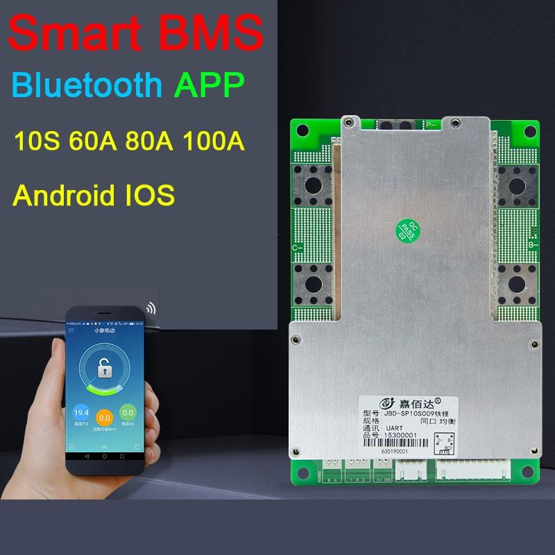 10S 36V Smart Liion Lithium Battery Protection Board PC Phone Bluetooth APP 60A 80A 100A Li-ion Lipo BMS Packs Balance JBD