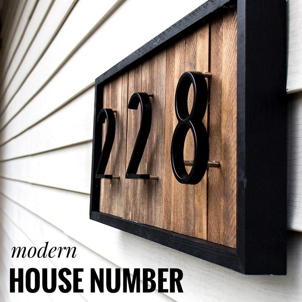 Número de liga de zinco da placa de endereço exterior do número da porta da casa do hotel do número moderno grande de 127mm para o sinal de endereço da casa #0-9