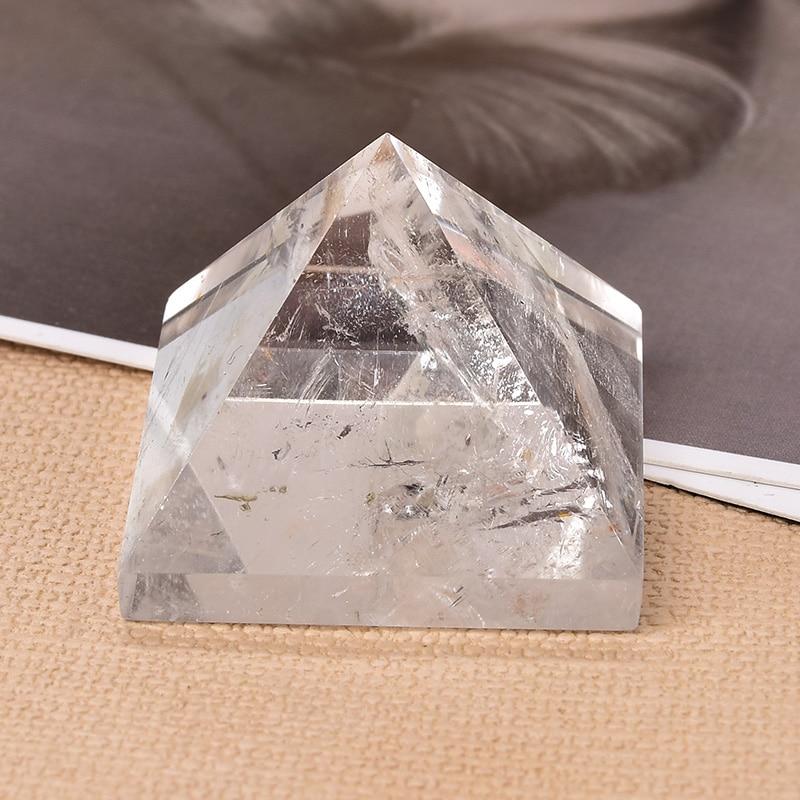 1 шт. натуральный кристально чистый пирамида из кварца исцеление Камень Чакра рейки с украшением в виде кристаллов точка башня солнечной эн...