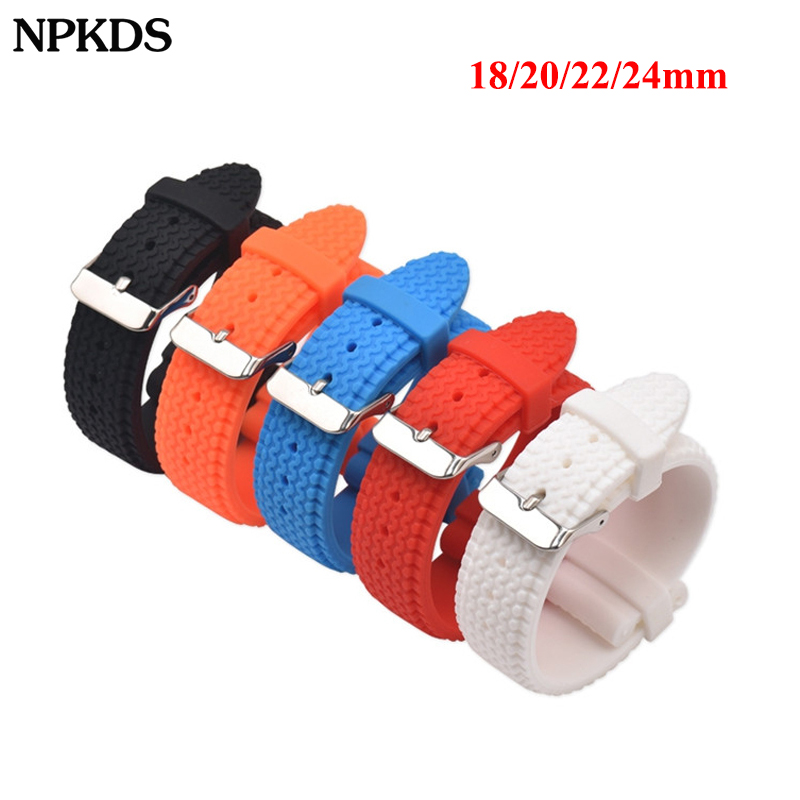 Sport Rubber Watch Bracelet Tire Pattern Silicone Waterproof Watch Strap Band Soft Replacement Watchband 18mm 20mm 22mm 24mm