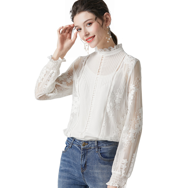 Blusa de seda floral de encaje blanco para mujeres de alta calidad de manga larga de talla grande casual sexy vestido de oficina camisas moda dropshipping - 5