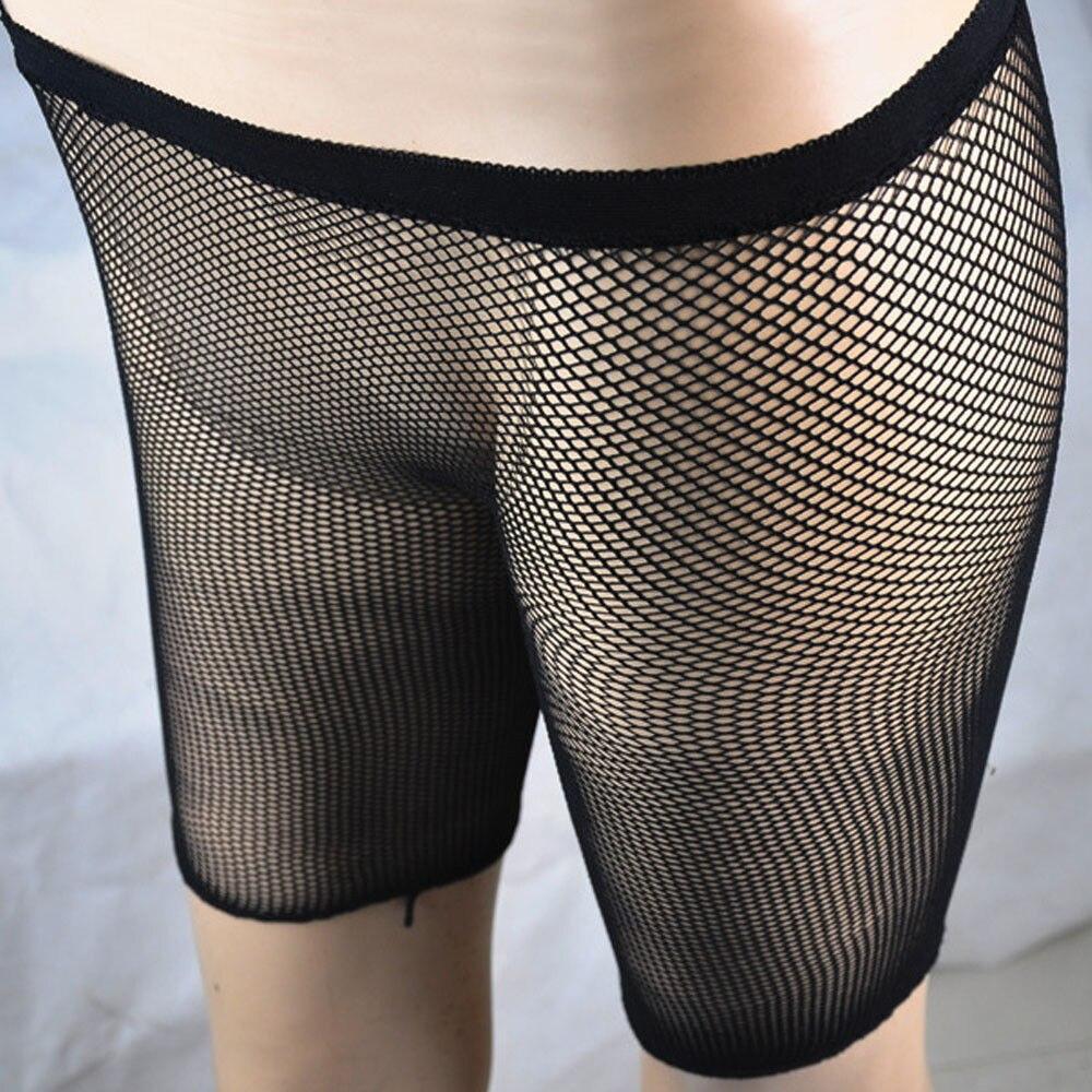 Women Sexy Sporty Fishnet Mesh Capris Trousers See Through Legging Shorts Pants Bikini Cover Up