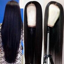 Длинные прямые парики из человеческих волос на сетке спереди