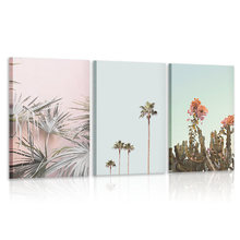Пейзаж розовая стена искусство планшетофон для пляжа Пальма