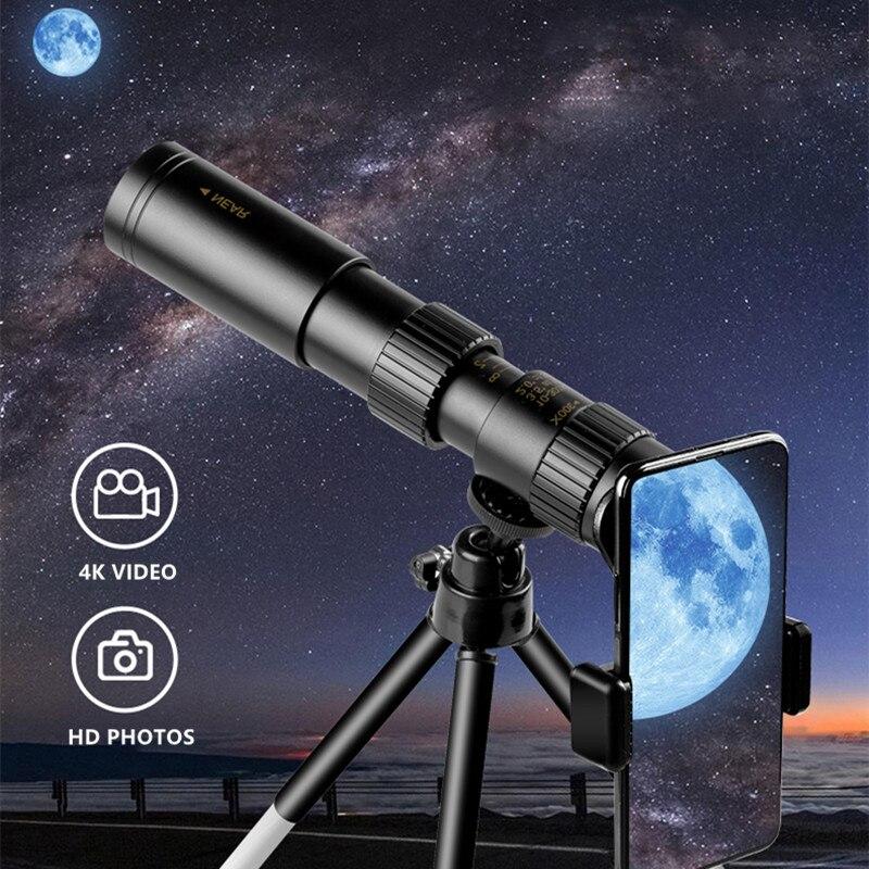Монокулярный телескоп 4K 10-300x40, компактный выдвижной монокулярный бинокль с HD зумом, ночным видением, для охоты и кемпинга
