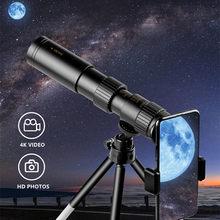 Telescopio Monocular 4K 10-300x40, Monocular compacto retráctil con Zoom HD, luz de prismáticos, mira de visión nocturna para caza y Camping