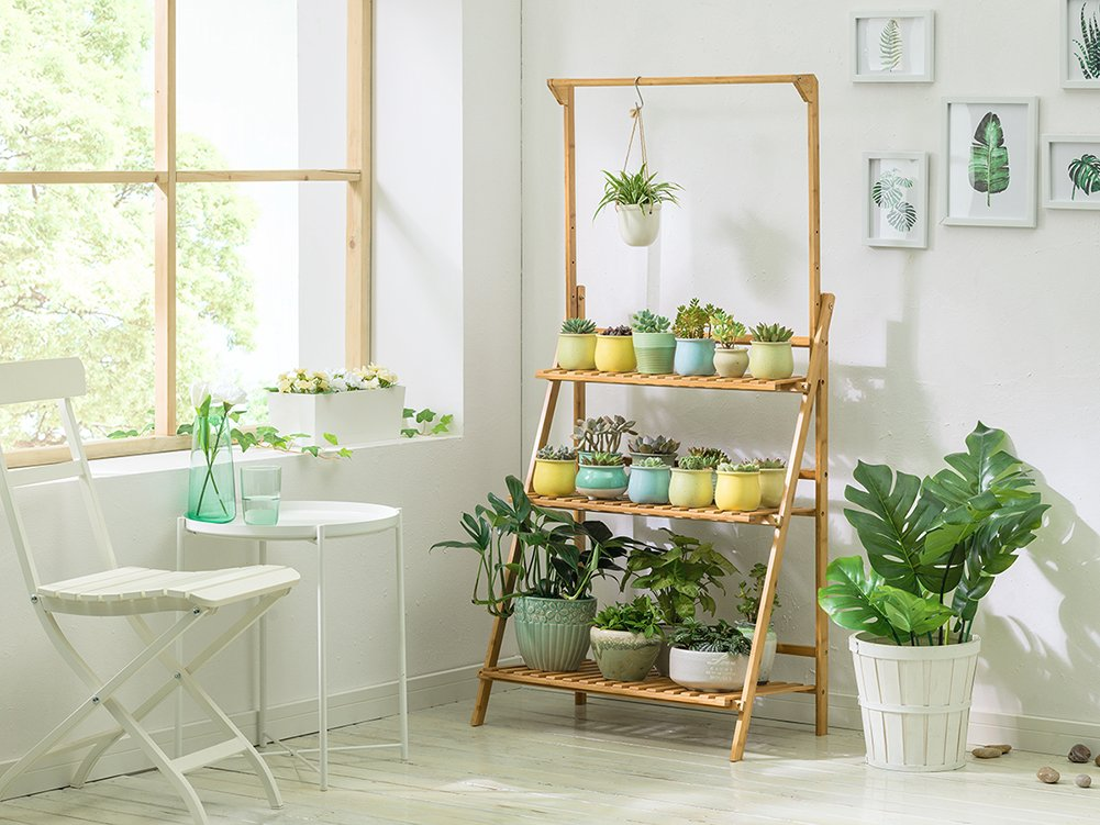 Bamboo 3 Tier Hanging Plant Stand Planter Shelves Flower Pot Organizer Storage Rack Folding Display Shelving