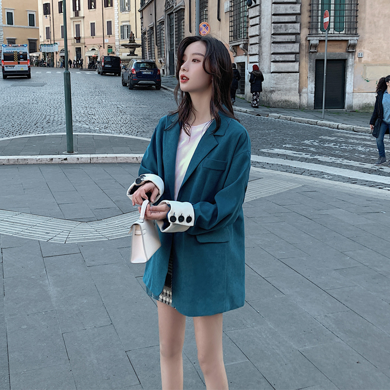 2020 spring and autumn new high-quality rear button stitching small suit fashion casual solid color coat jacket blue / red S-XL