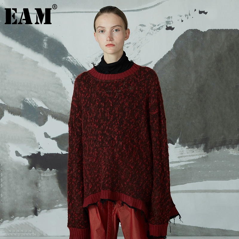[EAM] Asymmetrical Big Size Knitting Sweater Loose Fit Round Neck Long Sleeve Women New Fashion Tide Autumn Winter 2020 1D420